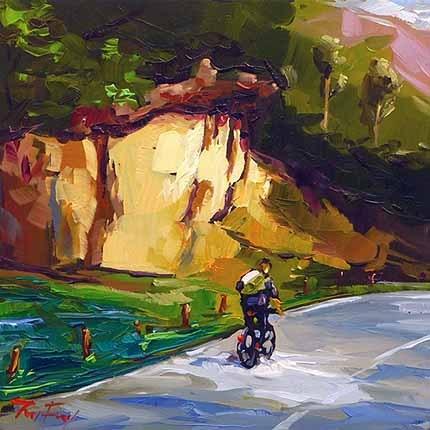 """Radtour am Max-Eyth-See"" original fine art by Jurij Frey"