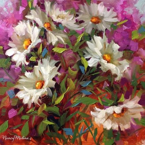 """""""Step by Step Daisies, Sunseeker Daisies and Florida Here I Come ~ Flower Painting by Nancy Medina"""" original fine art by Nancy Medina"""