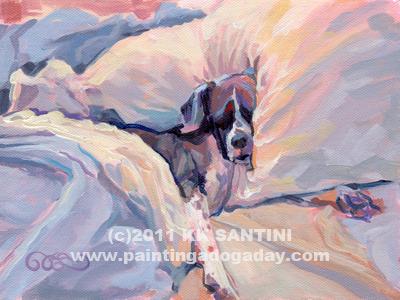 """Macy Lou Hoo Snooze"" original fine art by Kimberly Santini"