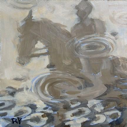 """""""Riding in the Rain"""" original fine art by Robin Peterson"""