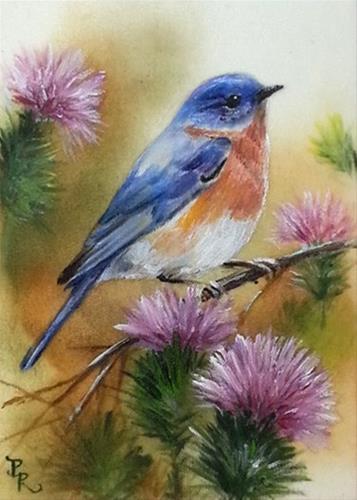 """Bluebird Thistles"" original fine art by Paulie Rollins"