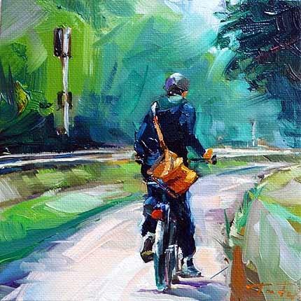 """""""Mit dem Fahrrad zur Arbeit"""" original fine art by Jurij Frey"""