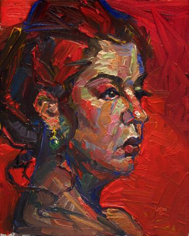 """Green Earring"" original fine art by Raymond Logan"