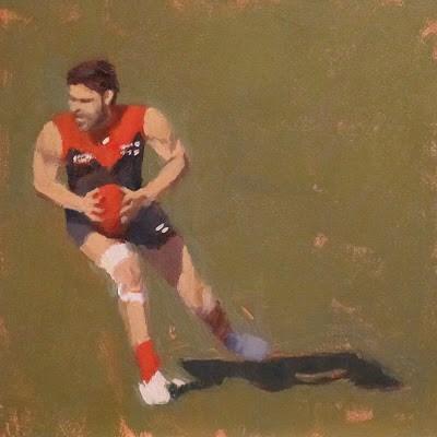 """FOOTBALL ( Australian Rules ) at the MCG - Melb FC #4"" original fine art by Helen Cooper"