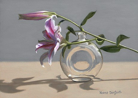 """Tiger Lily and Perfume Bottle"" original fine art by Nance Danforth"