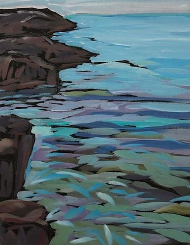 """Superior Rocks Looking North"" original fine art by Kat Corrigan"