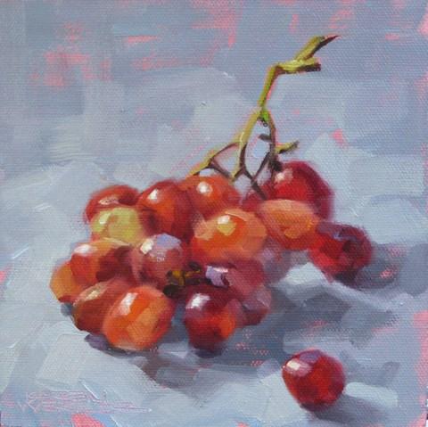 """""""Rainbow Grapes"""" original fine art by Karen Werner"""