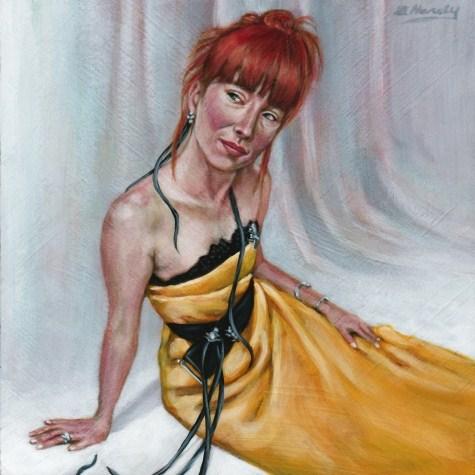 """Bianca 6X6 acrylic on wood Panel"" original fine art by Angela Hardy"