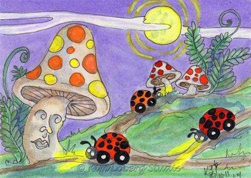 """Out Cruising in the Moonlight - Lil' Lady Bug Cars"" original fine art by Kim Loberg"