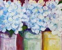 """Hydrangea Whites and Upcycled Mason Jars"" original fine art by Maggie Flatley"