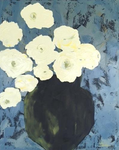 """White Peonies"" original fine art by Janet Bludau"