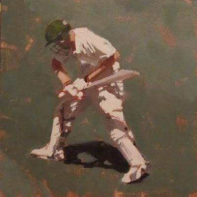 """""""BATSMAN 6 - Cricket at the MCG"""" original fine art by Helen Cooper"""