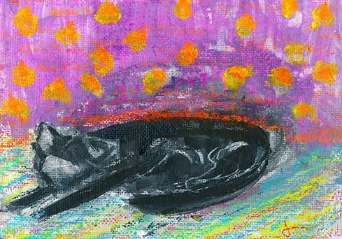 """""""Cat Dreams"""" original fine art by Janet Gunderson"""