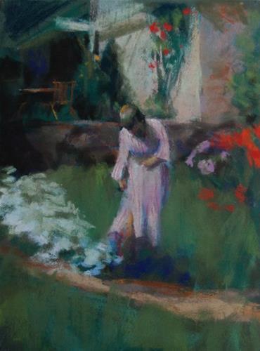 """""""In the Garden"""" original fine art by Margaret Dyer"""
