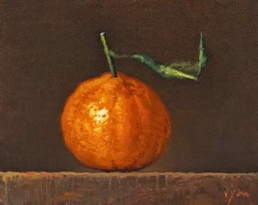 """Tangerine with Leaf"" original fine art by Abbey Ryan"