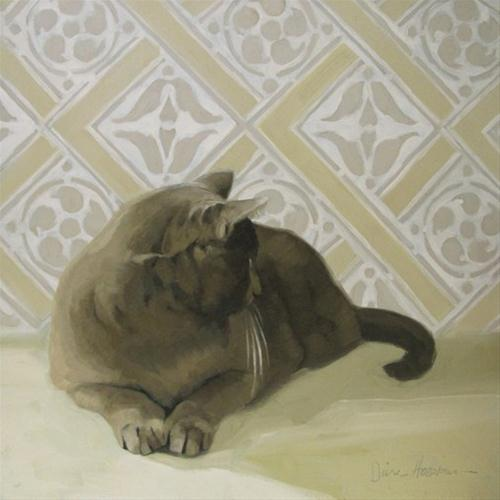 """""""Tuesday Coco fixing a cat painting before after"""" original fine art by Diane Hoeptner"""