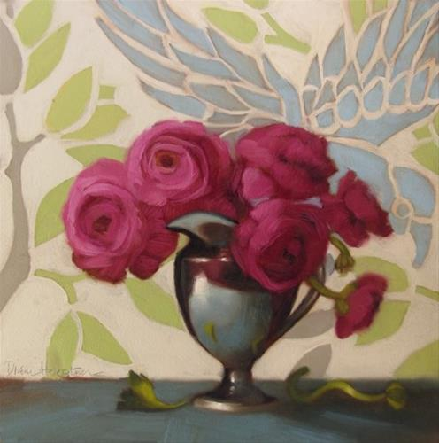 """Floral with Bird  a new floral still life painting"" original fine art by Diane Hoeptner"