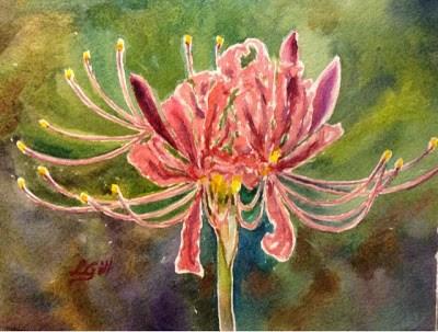 """Day 23 - Hurricane Lilies"" original fine art by Lyn Gill"