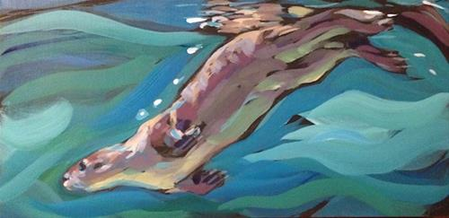 """Otter Slide"" original fine art by Kat Corrigan"