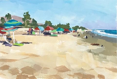 """Beach and Umbrellas"" original fine art by Sharon Schock"