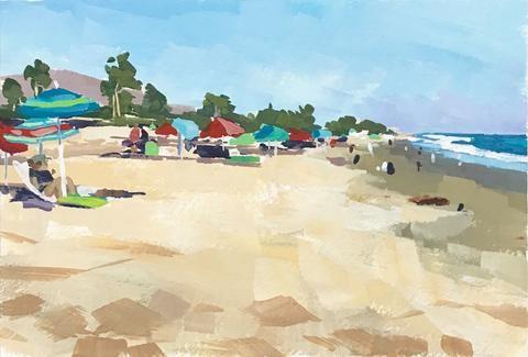 """""""Beach and Umbrellas"""" original fine art by Sharon Schock"""