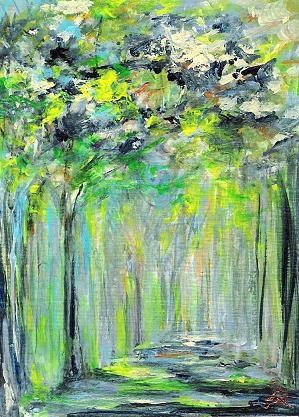 """""""3095 - FOREST LIGHT - ACEO DUO Series"""" original fine art by Sea Dean"""
