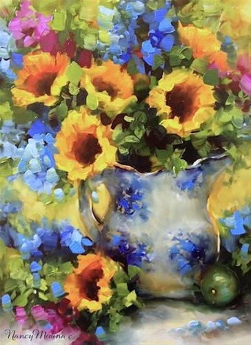 """Morning Sunnies ~ Sunflower and Delphinium Painting and the Joys of Passive Income by Floral Artist"" original fine art by Nancy Medina"