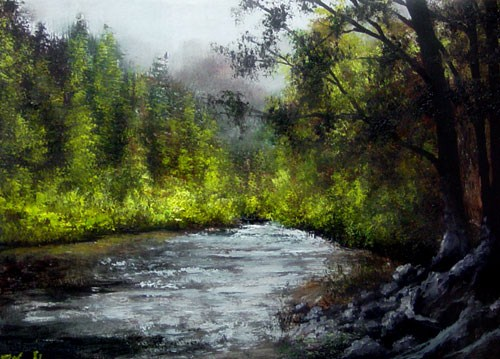 """RIver, Trees and Mountain Fog"" original fine art by Bob Kimball"