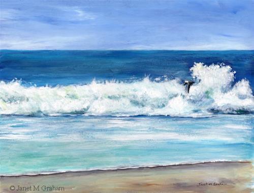 """Crashing Wave"" original fine art by Janet Graham"