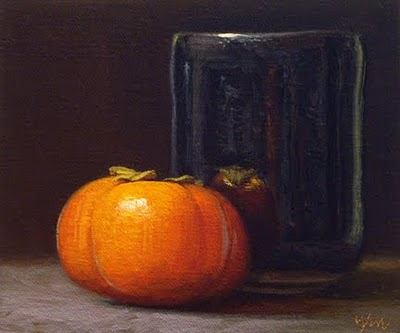 """""""Still Life with Persimmon and Tea Bowl"""" original fine art by Abbey Ryan"""