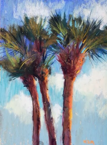 """Plein Air Palm Trees"" original fine art by Karen Margulis"