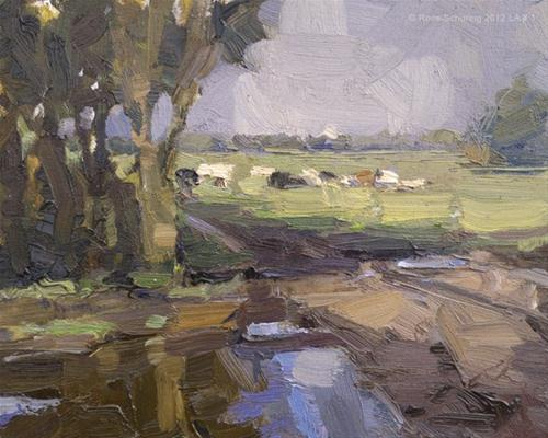 """Landscape autumn #1 Autumn sun and cows - Koeien"" original fine art by Roos Schuring"