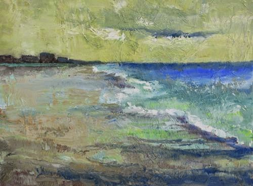 """Green Skies, Contemporary Seascape Paintings by Arizona Artist Amy Whitehouse"" original fine art by Amy Whitehouse"