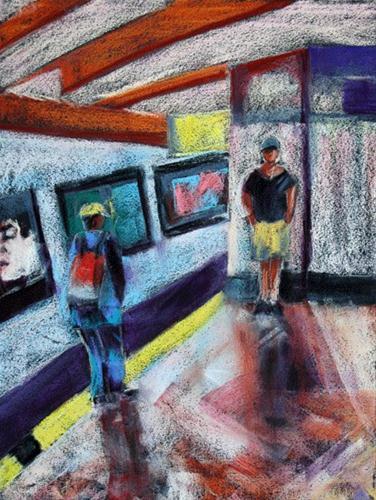 """Train Strangers"" original fine art by Donna Crosby"