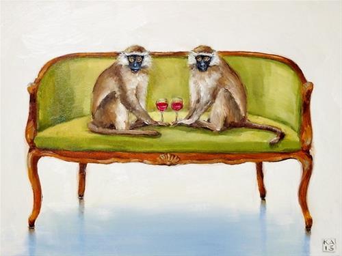 """monkey see, monkey do"" original fine art by Kimberly Applegate"