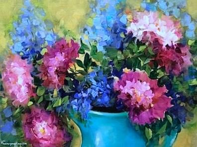 """Blue Delphiniums and Peonies - Flower Paintings by Nancy Medina"" original fine art by Nancy Medina"