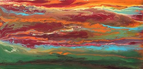 """""""Abstract Landscape,Sunset Art Painting Sky In Motion Reflected -Red-Mini #2 by Colorado Contempora"""" original fine art by Kimberly Conrad"""