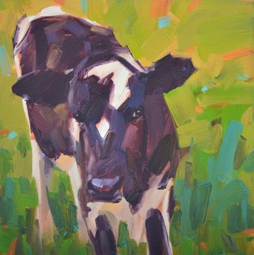 """""""Cautious Cow"""" original fine art by Carol Marine"""