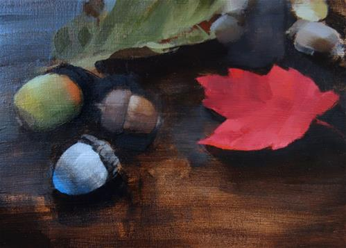 """""""Acorns and Fall Leaves (no.144)"""" original fine art by Michael William"""