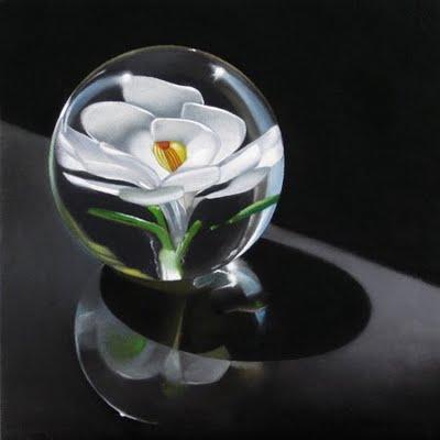 """""""White Flower Paperweight 6x6"""" original fine art by M Collier"""