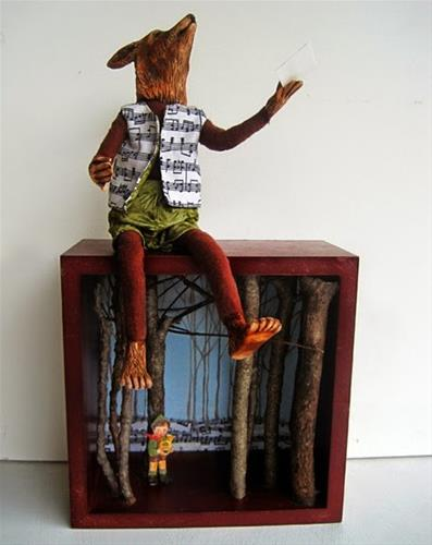 """Peter and the Wolf original art doll sculpture"" original fine art by Linda Apple"