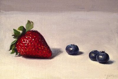 """Strawberry & Blueberries"" original fine art by Abbey Ryan"