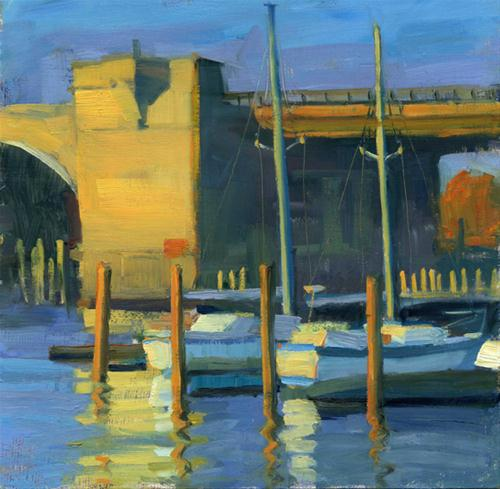 """Sailboats by the bridge"" original fine art by Kathy Weber"
