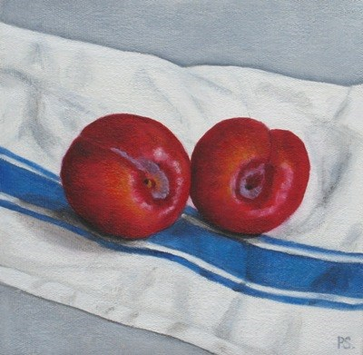 """""""Red Plums on french tea cloth"""" original fine art by Pera Schillings"""