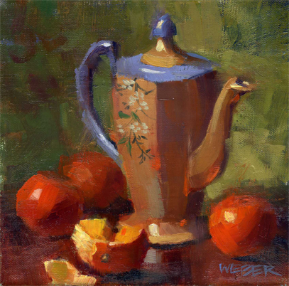 """Tea and tangerines"" original fine art by Kathy Weber"