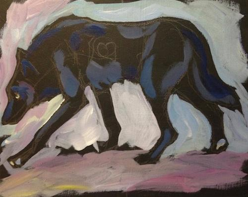 """White Earth Wolf"" original fine art by Kat Corrigan"