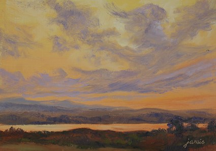 """Oranges and Violets Over the Hudson River"" original fine art by Jamie Williams Grossman"