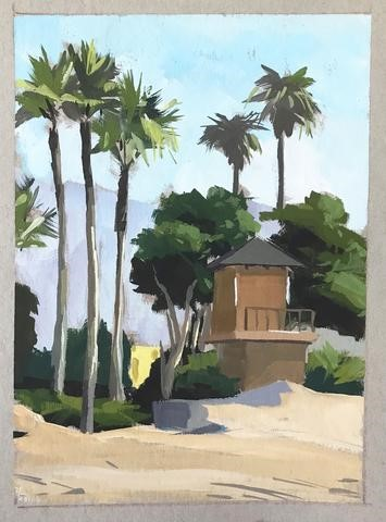 """Plein Air Lifeguard Tower"" original fine art by Sharon Schock"