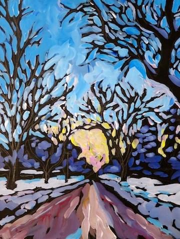 """""""Parkway Evening Drive, Winter"""" original fine art by Kat Corrigan"""