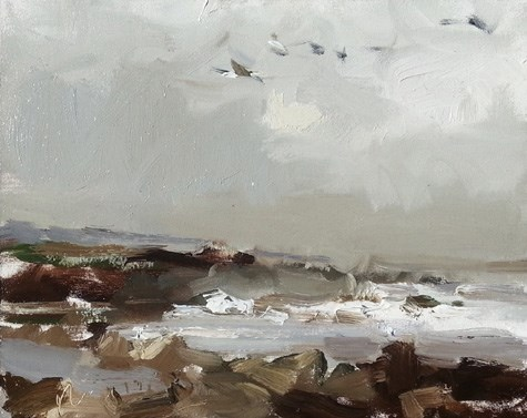 """""""Painting in California 2 Grey moment and Pelicans flying"""" original fine art by Roos Schuring"""